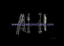 Aluminijske ljestve sa stajaćom površinom i rukohvatom - model sa 15 gazišta - mjere