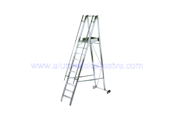 Aluminijske ljestve sa stajaćom površinom i rukohvatom - model sa 14 gazišta